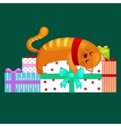 happy cute cat with christmas gifts kitten with vector image