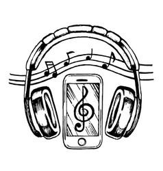 headphones and smartphone vector image vector image
