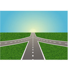 intersection on highway vector image vector image