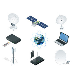 isometric wireless technology and global vector image vector image