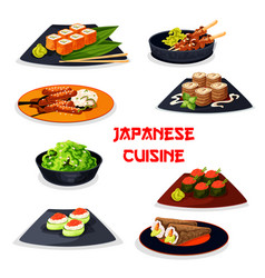japanese cuisine seafood sushi meat dishes icon vector image vector image