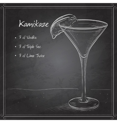 Kamikaze alcohol cocktail on black board vector