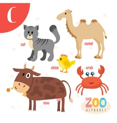 Letter C Cute animals Funny cartoon animals in vector image vector image
