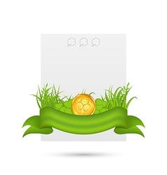 Natural card with coin shamrocks grass ribbon - vector image