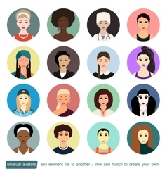 People avatars collection Girls womans in vector image