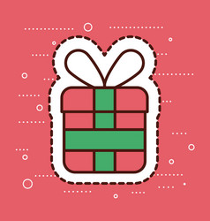 red and green gift box merry christmas surprise vector image
