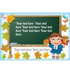 Schoolgirl at the blackboard vector image