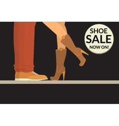 Shoe sale now on black shopping banner with human vector