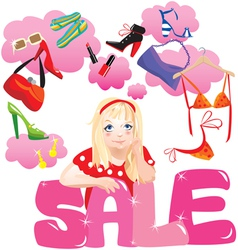 Shopping Girl Making Decision What To Buy vector image