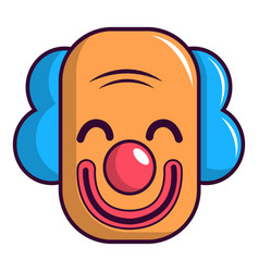 Smiling clown head icon cartoon style vector