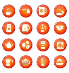 Tea and coffee icons set vector