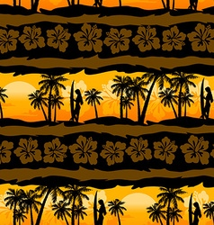 Tropical frangipani with palms sunrise seamless vector