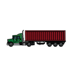 truck container shipping cargo outline vector image