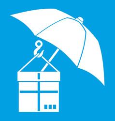 umbrella and a cardboard box icon white vector image