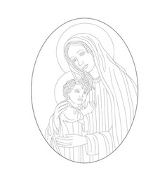 virgin mary and son vector image vector image