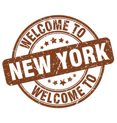 welcome to new york brown round vintage stamp vector image