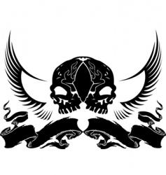 wing skull heraldry vector image