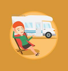 woman sitting in chair in front of camper van vector image vector image