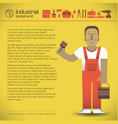 Workman and tools yellow background vector