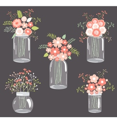 Pastel flowers in mason jars vector