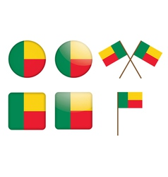 badges with flag of Benin vector image