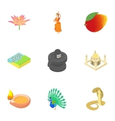 Holiday in india icons set cartoon style vector
