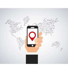 smartphone and world map vector image