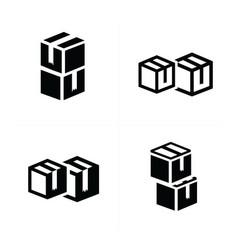 Box interlace icons set vector
