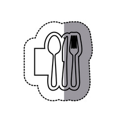 silhouette emblem metal cutlery icon vector image