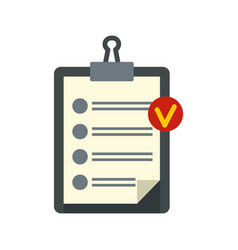 clipboard with checklist icon flat style vector image