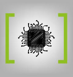 cpu microprocessor black vector image