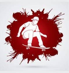 Skateboarder jumping man playing skateboard vector