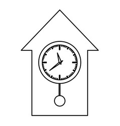 Monochrome contour with cuckoo clock vector