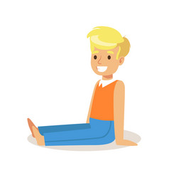 Cute smiling boy sitting on the floor colorful vector