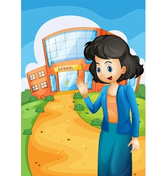 A teacher in front of the school vector image