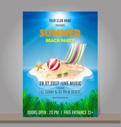 Summer beach party design template season vector