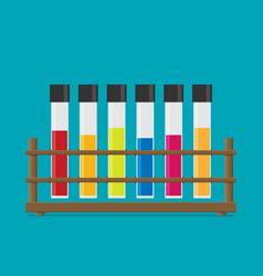Flat multicolor test tubes liquid in rack vector