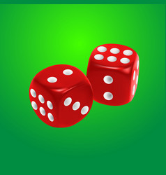 Red dice on green background vector