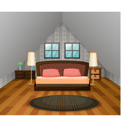 Bedroom scene with wooden floor vector