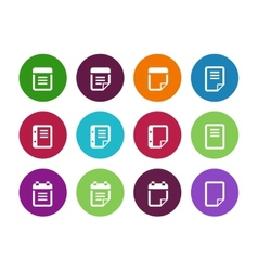 Notepad and sticky note circle icon set vector