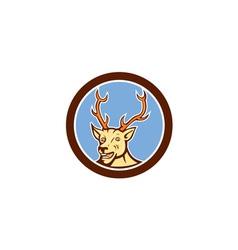 Stag deer happy head circle cartoon vector