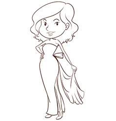 A sketch of a lady wearing a formal dress vector