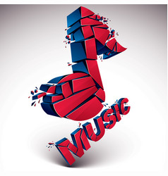 3d red shattered musical notes with music word vector