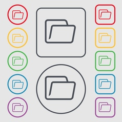 Folder icon sign symbol on the round and square vector