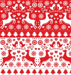 Christmas seamless folk pattern with reindeer vector