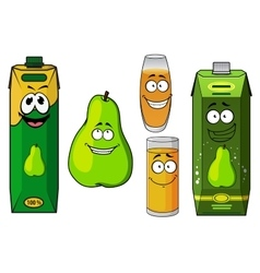 Cartoon green pear fruit and juices vector