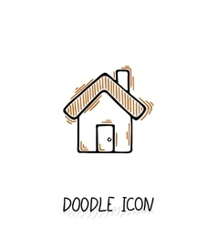 Doodle home icon in retro style vector