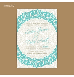 Vintage invitation blue 5x7 vector