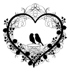Antique ornament of heart with birds vector