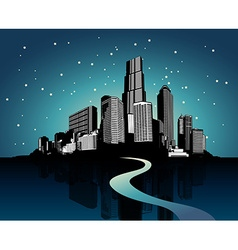 Cityscape with reflection on water at night vector